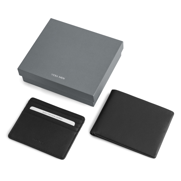 VERA MEN - Note Sleeve Wallet and Card Holder in Black