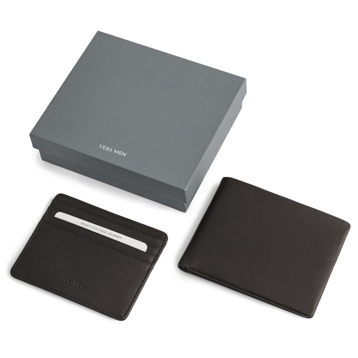 VERA MEN - Note Sleeve Wallet and Card Holder in Brown