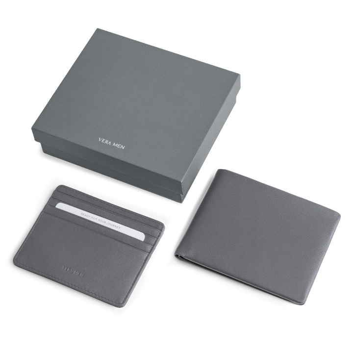 VERA MEN - Note Sleeve Wallet and Card Holder in Gray